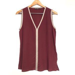 Massimo dutti burgundy short sleeve blouse